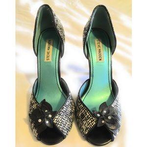 Black & White Tweed D'Orsay Heels